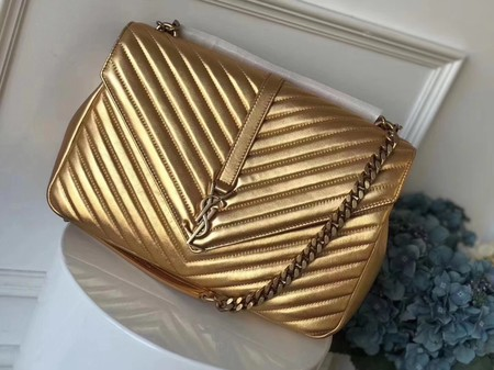 YSL Flap Bag Calfskin Leather 392738 gold