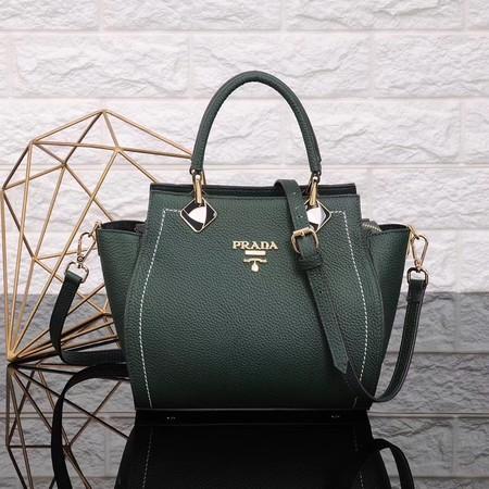 Prada Calfskin Leather Tote Bag 8016 green
