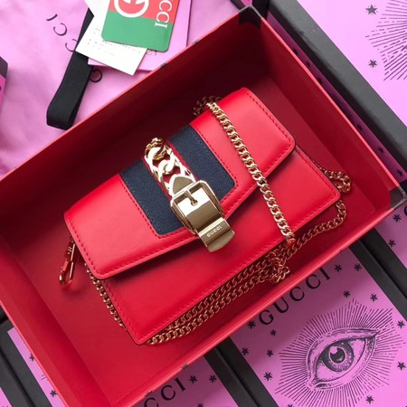 Gucci Calfskin Leather mini Shoulder Bag 494646 red