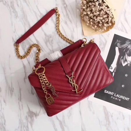 YSL Flap Bag Calfskin Leather 26611 red