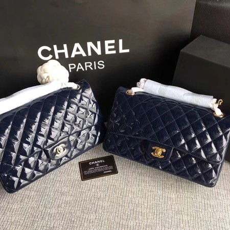 Chanel Classic Flap Bag original Patent Leather 1112 dark blue