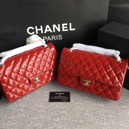 Chanel Classic Flap Bag original Patent Leather 1112 red