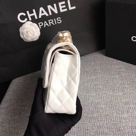 Chanel Classic Flap Bag original Patent Leather 1112 white