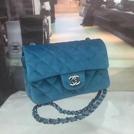 Chanel 2.55 Series Classic Flap Bag velvet CFC1117 blue