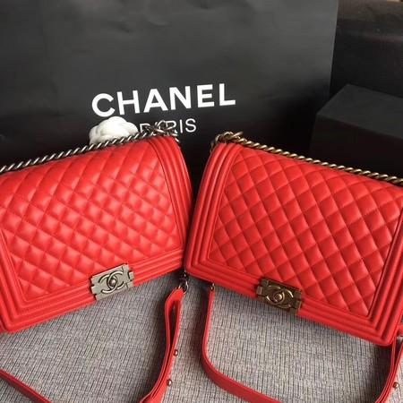 Boy Chanel Flap Bag Original Sheepskin Leather 67088 red