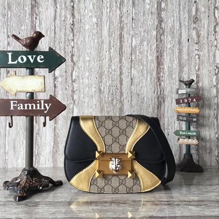 Gucci Osiride small GG shoulder bag 500781 black&gold