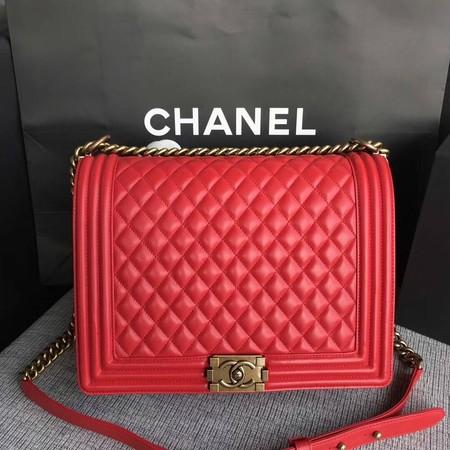 Chanel LE BOY Shoulder Bag Original Sheepskin Leather 67087 red Gold chain
