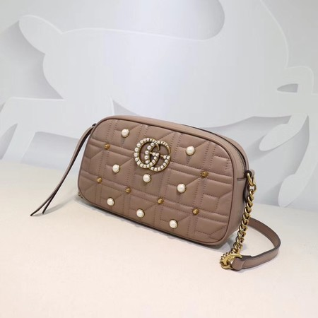 Gucci GG marmont matelasse calfskin small shoulder bag 447632 nude pearl