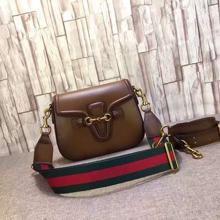 bf579c1c805 Gucci Lady Web Hand-Stained Leather Shoulder Bag 380573 brown