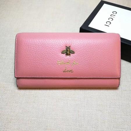 b27207d4837 Gucci Calfskin Leagther Wallet 454070 pink