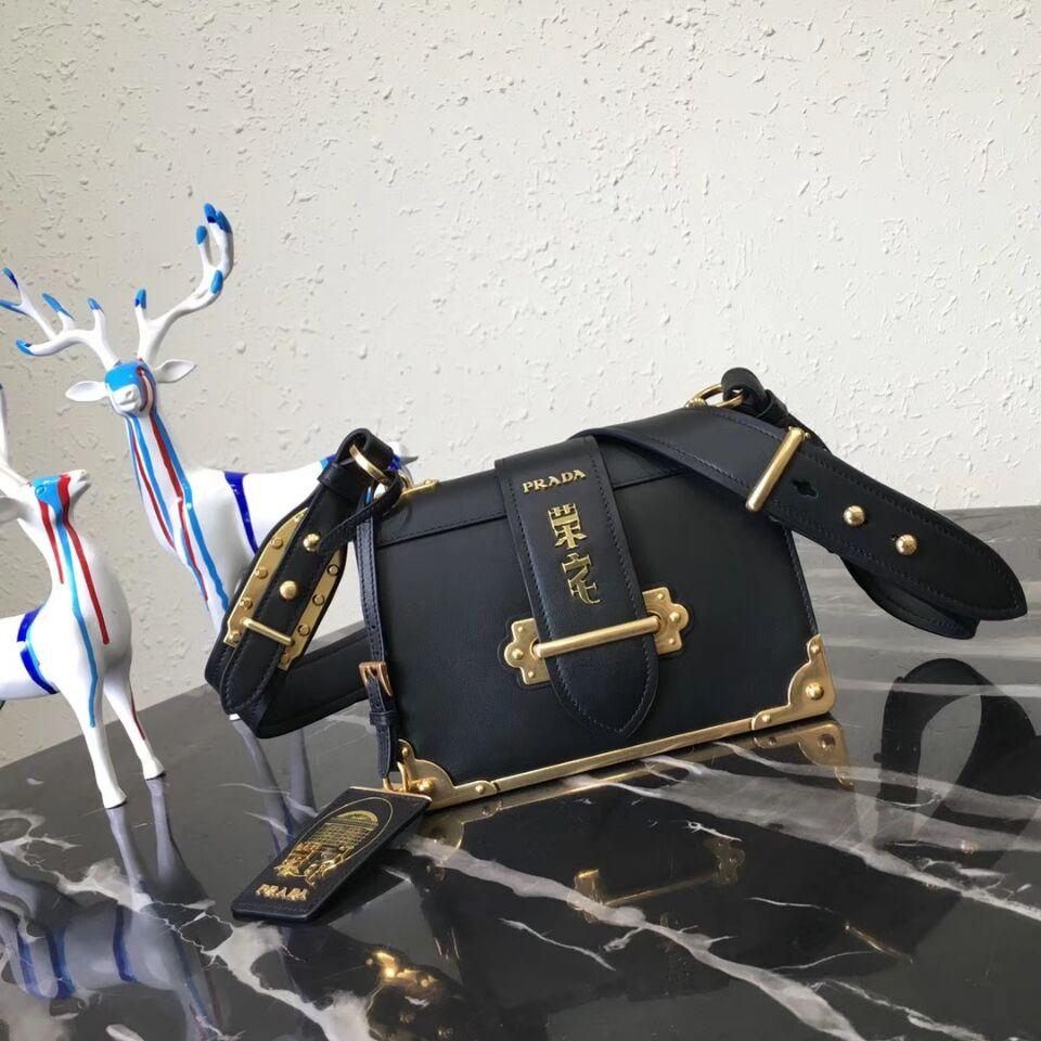 Prada Cahier Leather Shoulder Bag 1BD045-1 Black