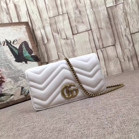 Gucci GG Marmont original mini calfskin shoulder bag 488426 white