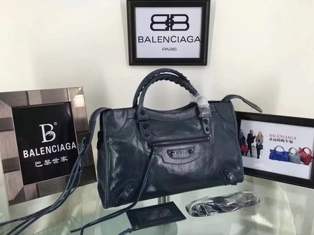 Balenciaga The City Handbag Calf leather 084332 blue
