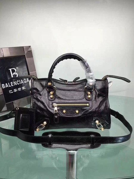 Balenciaga The City Handbag Calf leather 084333 Black