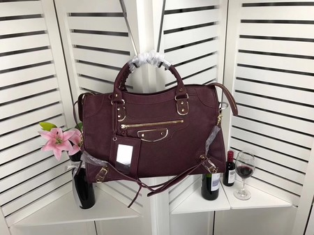 Balenciaga The City Handbag Sheepskin 084334 wine