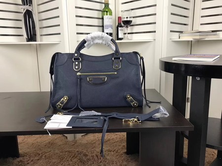Balenciaga The City Handbag Sheepskin 084334 dark blue