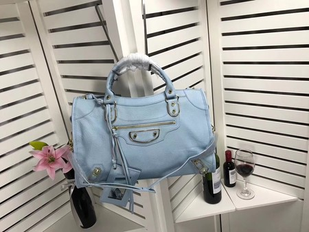 Balenciaga The City Handbag Sheepskin 084334 Light blue