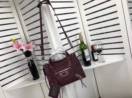 Balenciaga The City Handbag Sheepskin 084335 wine
