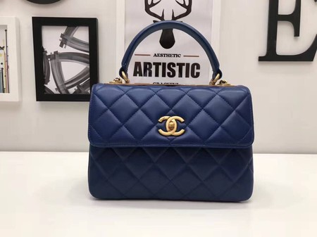 Chanel Classic Top Handle Bag 2371 blue sheepskin gold chain