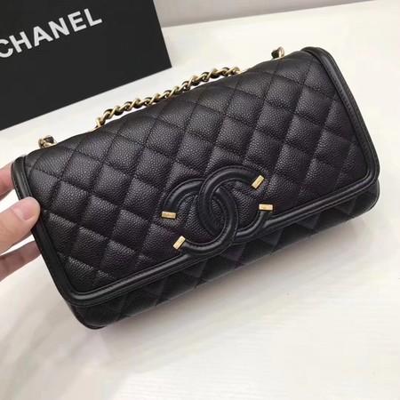Chanel Flap Bag Original Caviar Leather Shoulder Bag 94430 black