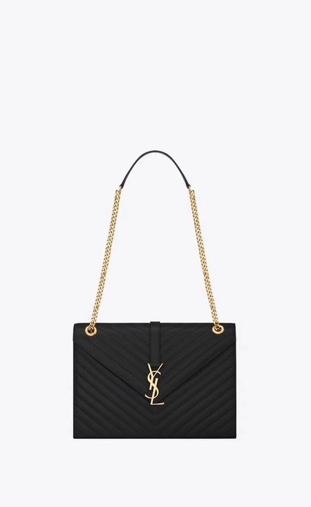 YSL Classic Monogramme Flap Bag Cannage Pattern Calf leather 396910 black