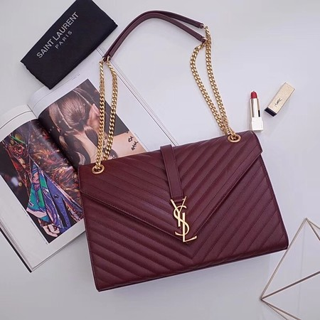 YSL Classic Monogramme Flap Bag Cannage Pattern Calf leather 396910 wine