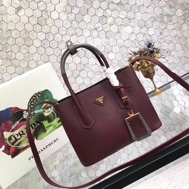 prada small saffiano lux tote original leather bag bn2754 burgundy&gray