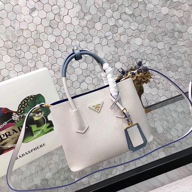 prada small saffiano lux tote original leather bag bn2754 white&blue