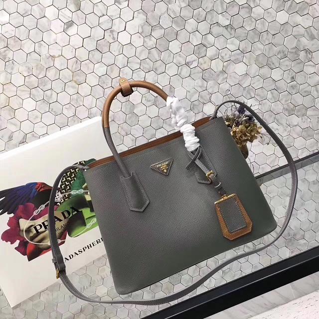 Prada saffiano lux tote original leather bag bn2756 gray&tan