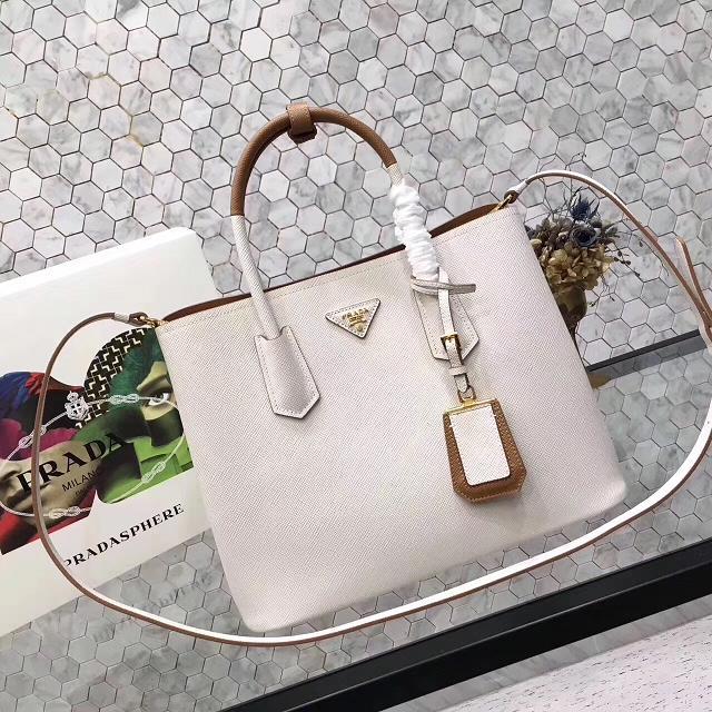 Prada saffiano lux tote original leather bag bn2756 white&tan