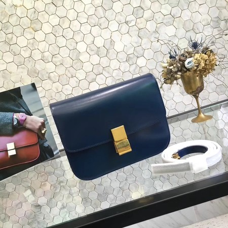 Celine Classic Box Small Flap Bag Calf leather 5698 dark blue