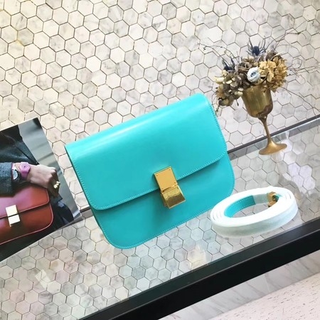 Celine Classic Box Small Flap Bag Calf leather 5698 sky blue