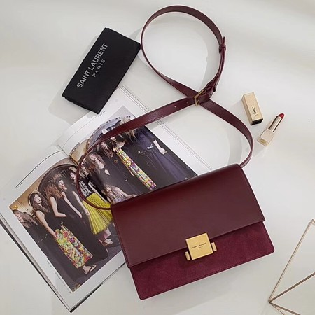 Yves saint Laurent Classic Monogramme Flap Bag Calf leather 482044 wine