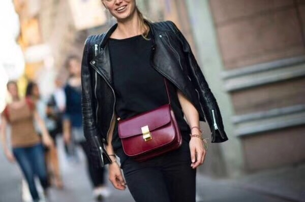 Celine Classic Box Flap Bag Calfskin Leather 2263 Burgundy