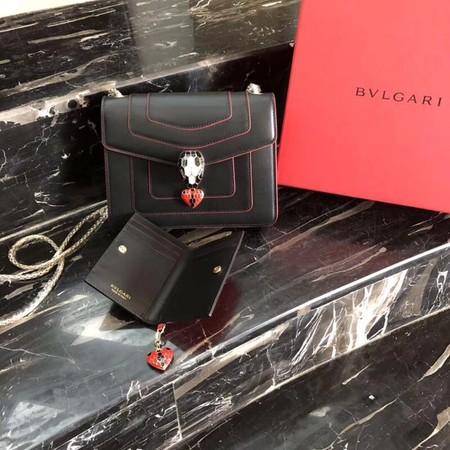 Bvlgari Forever serpenti in love Original calf leather Shoulder Bag 2465 black
