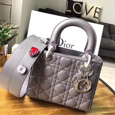 Dior lucky badges Original sheepskin Tote Bag 88034 grey