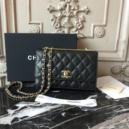 Chanel WOC Original leather Mini Shoulder Bag Sheepskin leather D33814 black