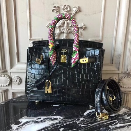 Hermes Upgraded version Birkin BK25 Tote Bag Croco Leather H8096 black