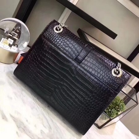 cfc9cd72d6 YSL monogram satchel crocodile leather Shoulder Bag 2824 black -  329.00