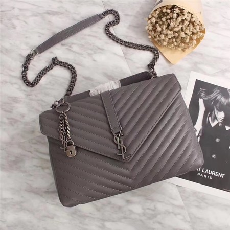 70920ee125 Yves Saint Laurent Monogramme Calf leather Shoulder Bag 26612 grey Silver  Chain