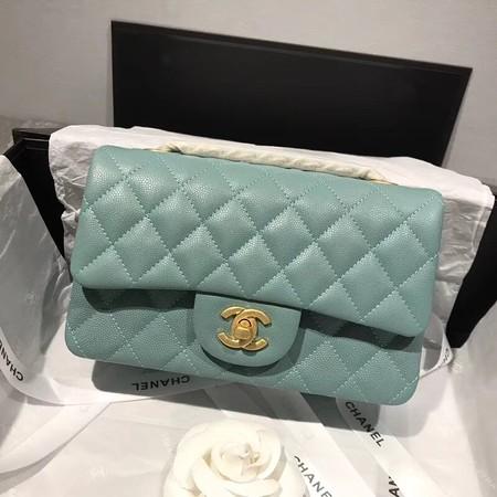 Chanel Flap Original Caviar Leather Shoulder Bag CF1116 Light green gold chain