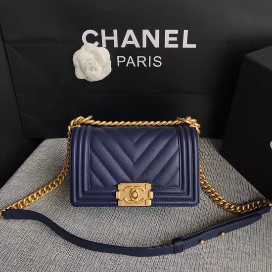 Chanel Leboy Original Calf leather Shoulder Bag B67085 dark blue gold chain