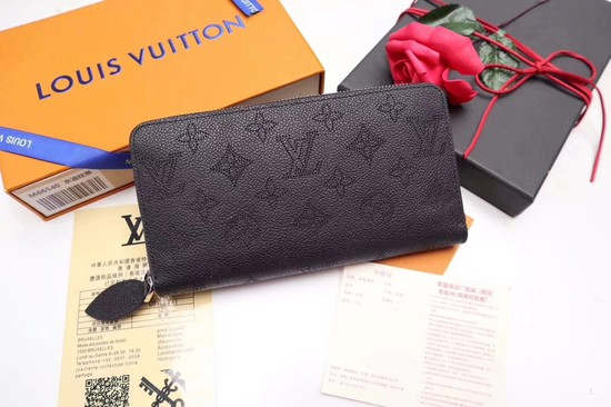 Louis vuitton original Mahina Leather wallet 61867 black