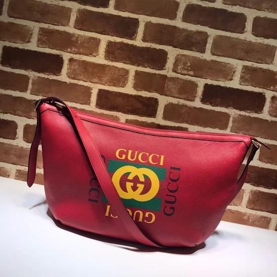 Gucci Print half-moon hobo bag 523588 red
