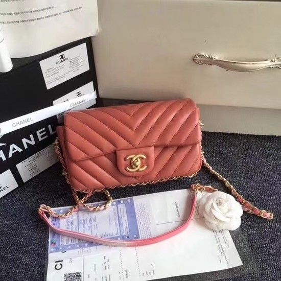 Chanel Flap Original Sheepskin Leather cross-body bag mini cf1116 pink