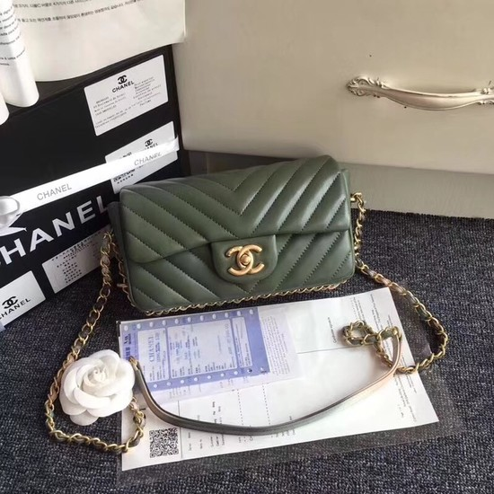 Chanel Flap Original Sheepskin Leather cross-body bag mini cf1116 green