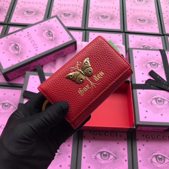 Gucci GG Supreme key case butterfly 519801 red