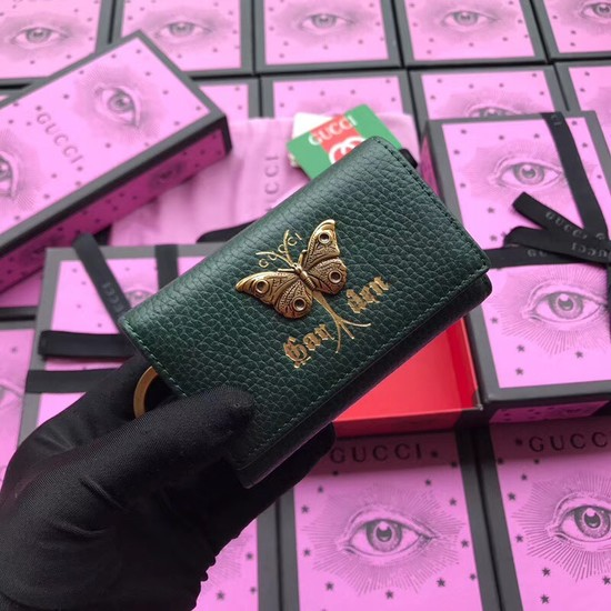 Gucci GG Supreme key case butterfly 519801 green