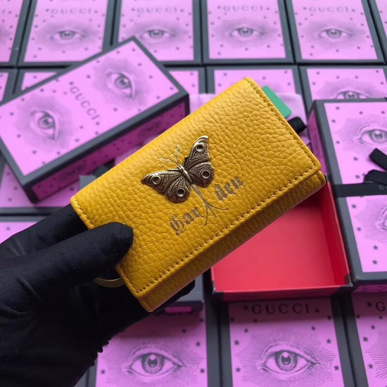 Gucci GG Supreme key case butterfly 519801 yellow