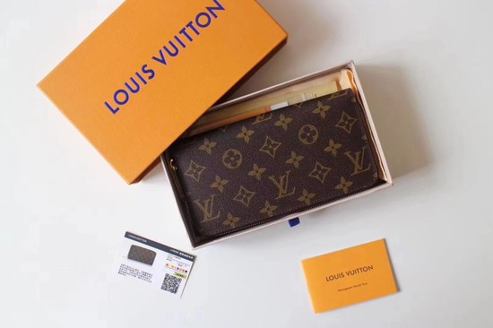 Louis Vuitton Monogram Canvas Zippy Wallet 41895 red